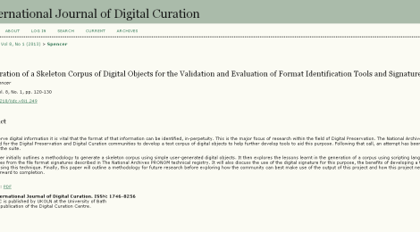 International Journal of Digital Curation: The Skeleton Test Corpus