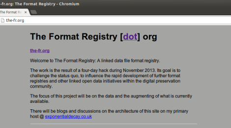 the-fr.org :: The Format Registry